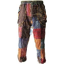 Little Kathmandu Hombres de Patchwork paz Baba cintura elástica bolsillo Hippie Gypsy botón Cuff Tobillo Pantalones multicolor multicolor M