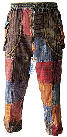 Little Kathmandu Men's Patchwork Peace Baba Elastic Waist Pocket Hippie Om Gypsy Button Cuff Ankle Trousers Large