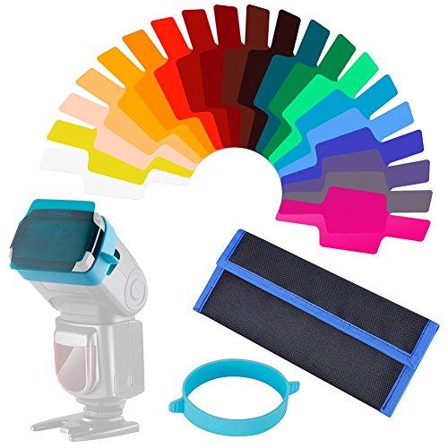 Queta universale camera flash Gels correzione colore bilance e kit di filtri (confezione da 20)