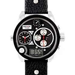 Alienwork DualTime Analogue-Digital Watch Multi-function LCD Wristwatch XXL Oversized Leather black black OS.WH-2305-1