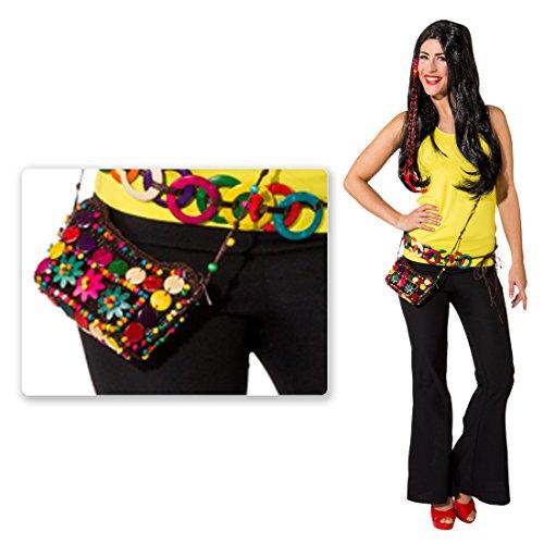 NET TOYS Bunte Hippie Tasche Batik Damentasche Woodstock Flower Power Damenhandtasche 60er 70er Jahre Umhängetasche -