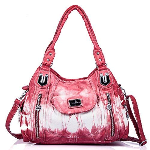 Große Satchel Tote (angel kiss Damen Handtasche Schultertasche PU Leder Top Griff Satchel Tote Bag, Ak812-2z Red, Large)