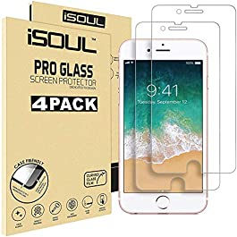 [4 Pack] Screen Protector for Apple iPhone 7 8 6s 6 Tempered Glass Film 9h HD iSOUL, Premium Accessories 0.30mm Shatterproof Protectors 4.7 Inch [Ultra Strong] [Case Friendly] [3D Touch Compatible]
