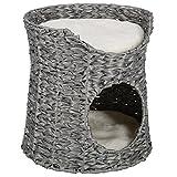LIMAL Katzenhöhle Grau Geflochten Kunststoff Waschbare Kissen 40 x 43 cm