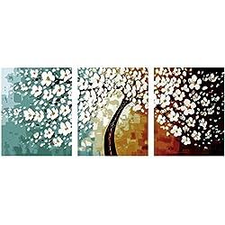 Lienzo Pintura De Pared Arte Para Colorear Por Números Cuadros De Flores Trípticos Para Sala De Estar De Pared Decoración Para El Hogar Pintura Al Óleo Lienzo Sin Marco 3 Piezas Conjunto 50 * 70 Cm