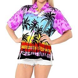 LA LEELA botón Camisa Hawaiana Blusa Playa Mujeres Cuello Manga Corta árboles Palma impresión del Traje de baño Partido L-ES Tamaño-46-48 Violeta_W966