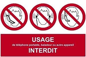 Panneau d'interdiction d'utilisation du téléphone portable