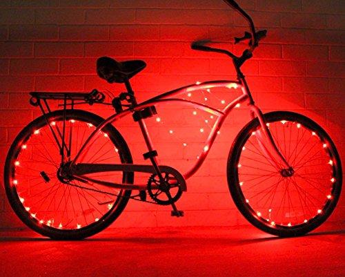 Cadena de luces de GlowRiders, para ruedas de bicicleta, con LED ultrabrillantes, pack de 2, rojo