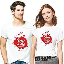 72dd70aa7 Hangout Hub 100%% Cotton Printed Couple Tshirts You & Me Forever Printed T-