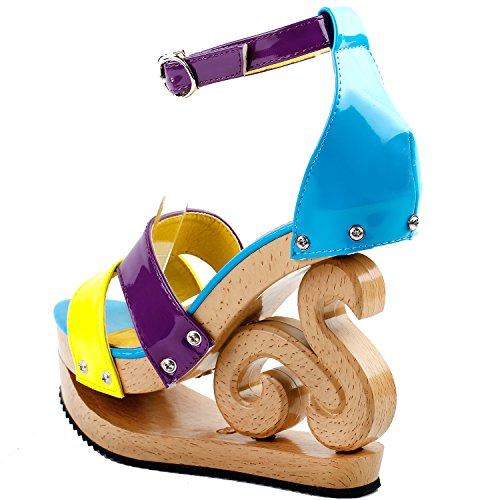 Show Story Sexy Colorblock Ankle Strap Holzkeil Plattform Sandalen, LF30833 verstopft Gelb