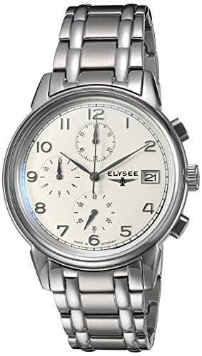 ELYSEE Made in Germany Vintage Chrono 80550S 40mm Silver Steel Bracelet & Case Synthetic Sapphire Men's Watch