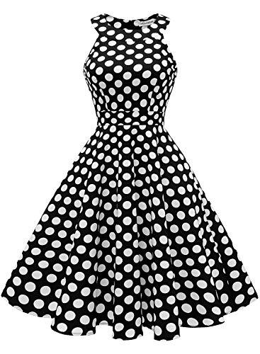 MUADRESS 1950 Vintage 1950 Kleid mit Taschen Retro Rockabilly Cocktailkleider Faltenrock Schwarz Große Weiß Punkte Large