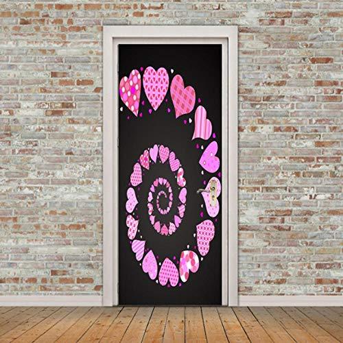 Papel pintado de la puerta moderno arte Impresión Decorativos PVC -Escalera de caracol rosa - Para Vinilos Desmontable cuarto de niños Decoración murals de puerta (77X200CM)