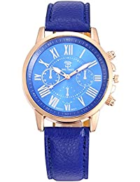 BIG Tree® Branded Chronograph Look Blue Dial & Blue Leather Belt Analogue Quartz Movement Watches For Men - W1245BUX