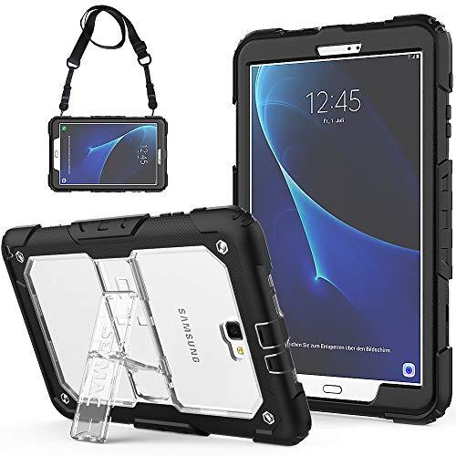 SEYMAC Galaxy Tab A 10.1 Hülle Robuste Schutzhülle mit eingebautem Ständer/Verstellbarer Schultergurt für Galaxy Tab A6 10.1 2016 Tablet (SM-T580/SM-T585, Keine Stift Version) schwarz/transparent