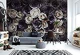 Weiß Graue Rosen Blumen - Wallsticker Warehouse - Fototapete - Tapete - Fotomural - Mural Wandbild - (3122WM) - XXL - 312cm x 219cm - VLIES (EasyInstall) - 3 Pieces