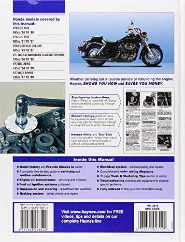 Honda Shadow VT600 & VT750 Automotive Repair Manual (Haynes Automotive Repair Manuals)