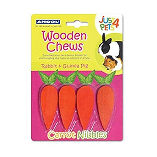 ancol-just-4-pets-wooden-carrot-nibbles-chew-toy
