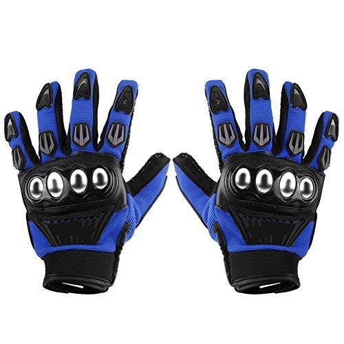 Qiilu Paar voller Finger Airsoft Rennen Reiten Radfahren Alloy Schutzmaßnahmen Bewaffneten Motorrad Handschuhe(L-Blau)