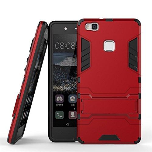 CHcase Huawei P9 Lite Hülle, Shockproof Rüstung Hybrid 2 In1 TPU und PC Robuste Dual Layer mit Kickstand Case für Huawei P9 Lite -Red