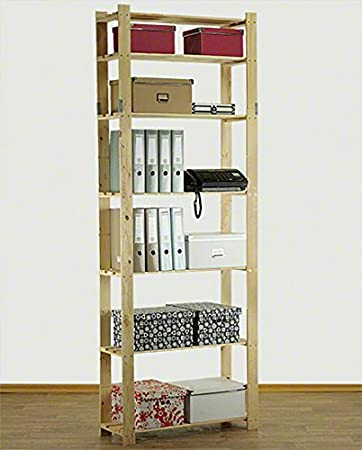 Holzregal keller  Holzregal Keller- Lager- Bücher- Küchenregal Ständer H. 150-220 cm ...