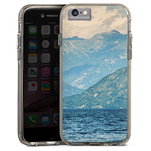 Apple iPhone 6 Bumper Hülle Bumper Case Glitzer Hülle Berglandschaft Berge Sea Bumper Case transparent grau