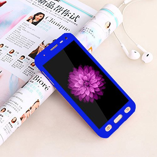 Cedo Front and Back Case Cover with Tempered Glass for Samsung Galaxy J2(6) (New 2016) / J2-6 (2016) / J2 Pro J210 (Blue)