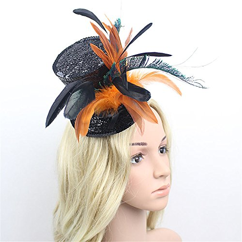 Fascinator-Hut-Feder-Kopfbedeckung Womens Fascinators Halloween Hut Kopfbedeckungen Blume Mesh Federn Clip Headwear Bankett Cocktail Tea Party Hut Haarschmuck für Hochzeit Cocktail Tea Party Royal Asc