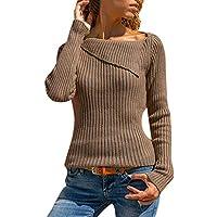 Luckycat Jerséy Mujeres Manga Larga Cuello Redondo Solapa Jersey Suéter de Punto Suelto Prendas de Punto Pulóver Otoño Invierno