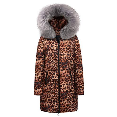 JMETRIC Damenmode aus Baumwolle mit Leopardenmuster und Kapuze, knielangen, Langen Daunenjacken aus - Mantel Und Degen Kostüm Frauen