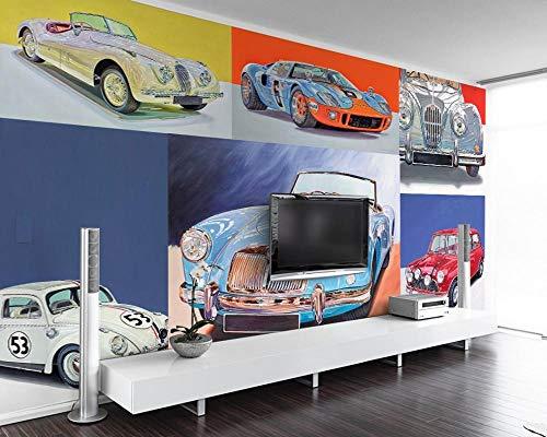 Keshj carta da parati Custom Auto Show Wallpaper 3D Car Photo Mural Cool Retro Luxury Car Tv Living Room Wallpaper Bedroom Mural-350cmx245cm