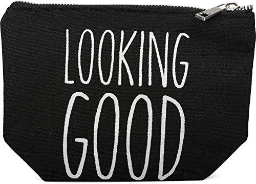 styleBREAKER Statement Beautybag mit \'LOOKING GOOD\' Aufdruck, Kosmetiktasche, Make Up Bag, Tasche, Damen 02013005, Farbe::Schwarz