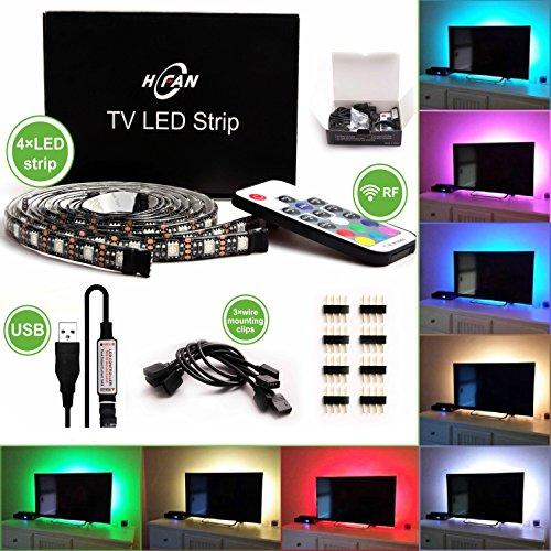 """Tira de LED TV retroiluminación, hfan alimentado por USB iluminación Kits x4unidades (2x 23.6""""y 2x 15.7"""") con RF RGB mando a distancia, neón Accent sesgo iluminación RGB para TV, PC, espejo, escritorio, Cine en casa"""