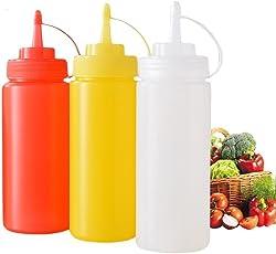 Godskitchen Plastic 12 Oz BPA-free Squeeze Squirt Condiment Bottle with Twist on Cap Lid (Multicolour)- Set of 3