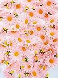 JZK 100 x künstliche blau Handwerk Gerbera Daisy Gänseblümchen Stoff Blumen Köpfe, Hochzeit Party Tisch Scatters Konfetti, DIY Scrapbook Zubehör, Einladung Karte Dekoration (rosa) - 7