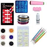 SAVNI combo of 100 pcs of Nail extensions ,5 dotting tool , nail art 5 striping tapes , 6 different glitters , stamping…