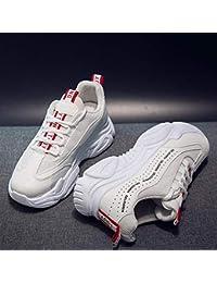 2019 Zapatos deportivos para mujer viejos zapatos de red transpirable para mujer bajos para ayudar zapatos casuales (color: blanco)