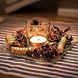 Kerzenhalter Deko Set Romantische Kerzenbeleuchtung: Rustikales Set – Palmwachs-Kerze und Glashalter & dekoratives Potpourri auf Glasschale – Palmwachs-Blockkerzen für alle Feiern, Weihnachten
