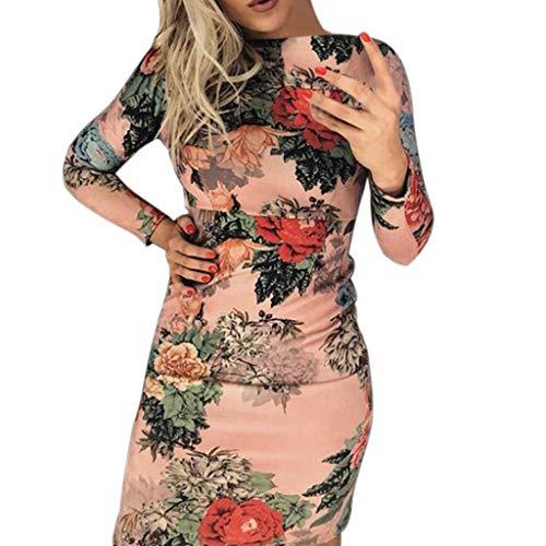 Vestidos de Fiesta Mujer Cortos,ZARLLE Moda Mujer O-Cuello Manga Larga Estampado Floral Nalgas Ajustadas Bodycon Mini Vestido