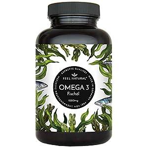 Omega 3 Fischöl Kapseln – 365 Kapseln im Jahresvorrat – Premium mit 1000mg Fischöl je Kapsel und den Omega 3 Fettsäuren EPA und DHA – aus nachhaltigem Fischfang, ohne unerwünschte Zusätze