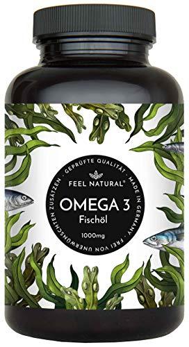 Omega 3 Fischöl Kapseln - 365 Kapseln im Jahresvorrat - Premium, hochdosiert mit 1000mg Fischöl je Kapsel und den Omega 3 Fettsäuren EPA und DHA - aus nachhaltigem Fischfang, ohne unerwünschte Zusätze