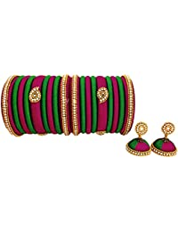 Youth Trendy Magenta - Dark Green Combination Silk Thread Jewellery - Bangles And Earrings Set For Women