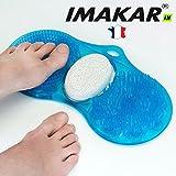 Beccucci imakar® Tappeto di massaggio & pulizia per piedi 3in 1. con una spazzola di pulizia, una spazzola di massaggio e una pietra pomice naturale per eliminare la pelle morta dei piedi.