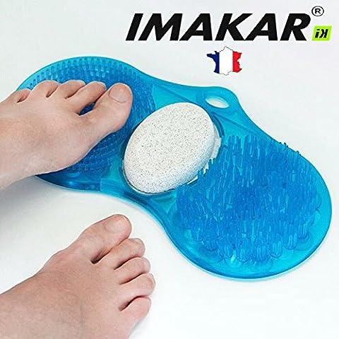 ✔ IMAKAR® Tapis de Massage & Nettoyage pour Pieds 3 en 1. avec une brosse de nettoyage, une brosse de massage et une pierre ponce naturelle pour éliminer la peau morte des pieds.