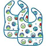 COM-FOUR 2 Lätzchen für Babys, wasserdicht und abwaschbar mit Klettverschluss und durchsichtiger Tasche an der Unterseite (2 Stück - blau)