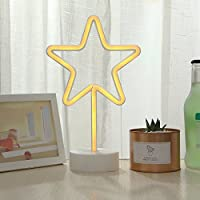 GUOCHENG Star Neon Nightlight LED Pedestal Pentagram Neon Table Lamp Battery Power Bar Home Bedroom Christmas Party Decor Neon Night Light for Kids Children Bedroom