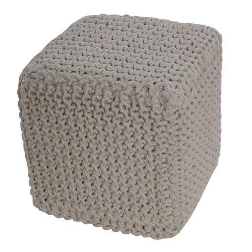 Homescapes Cube Tricoté Blanc Cassé 100% Coton Repose-pied Rembourré des Billes pour le Salon, la Chambre des Enfants ou pour les Personnes Âgées