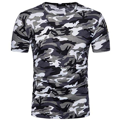 änner Casual Kurzärmeliges Druck Tops T-Shirt Pullover Rundhals Sport Training Fitness Bekleidung Sommer Mode Freizeit Streetwear Camouflage Bluse (M, Grau) ()