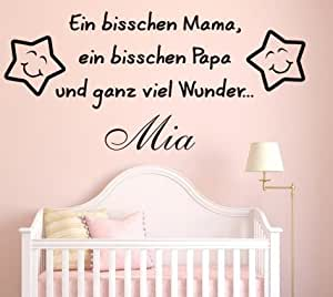 wandtattoo mit individuellem namen ein bisschen mama ein bisschen papa und ganz viel wunder. Black Bedroom Furniture Sets. Home Design Ideas