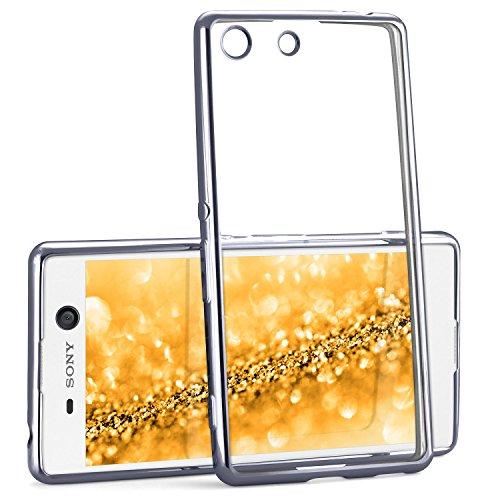 Chrome Case für Sony Xperia M5 | Transparente Silikon Hülle mit Metallic Effekt | Dünne Handy Schutz Tasche von OneFlow | Back Cover in Anthrazit